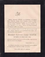 SOVET Bourgmestre Alphonse BURTON 54 Ans 1892 Membre Conseil De Fabrique Famille PURNODE PRIGNON LAMY - Avvisi Di Necrologio
