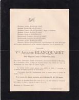 GAND BRUXELLES Virginie UTTERWULGHE Veuve Auguste BLANCQUAERT 72 Ans 1894 Famille De RATMANOFF - Avvisi Di Necrologio
