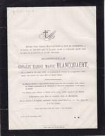 GAND MARIAKERKE Coralie Elodie BLANCQUAERT 1858-1882 Fille De Charles BLANCQUAERT Et VAN De KERKHOVE - Avvisi Di Necrologio