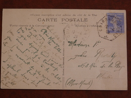 Cad Hexagonal Cuirassé Paris 13/04/1929, Sur Carte Postale Illustrée, à Destination Menton - Postmark Collection (Covers)