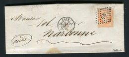 Lettre De Caen Pour Narbonne ( 1859 ) Avec Un N° 16 - 1853-1860 Napoleon III