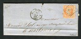 Lettre De Lyon Pour Narbonne ( 1858 ) Avec Un N° 16 - 1853-1860 Napoleon III