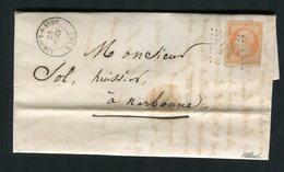 Lettre De Limoux Pour Narbonne ( 1861 ) Avec Un N° 16 - 1853-1860 Napoleon III