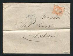 Lettre De St Pons Pour Narbonne ( 1862 ) Avec Un N° 16 - 1853-1860 Napoleon III
