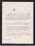 DIEGEM DIEGHEM Caroline BURDO 35 Ans 1882 Famille PICOT De MORAS HOOREMAN ZAMAN Faire-part Mortuaire - Avvisi Di Necrologio
