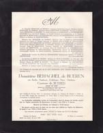 MELLE Château De BUEREN Berthe Comtesse De BUEREN Veuve BEHAGEL De BUEREN 1871-1950 Prisonnière Politique 1914-1918 - Avvisi Di Necrologio