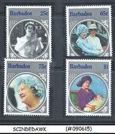 BARBADOS - 1985 QUEEN'S MOTHER BIRTHDAY - 4V - MINT NH - Barbados (1966-...)