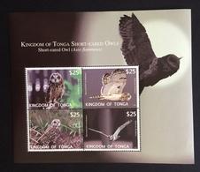 Tonga 2012; Birds Fauna Owls; MNH** Sheet; High Value!! - Tonga (1970-...)