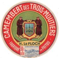 ETIQUETTE. FROMAGE. H. LE FLOCH. CAMEMBERT DES TROIS MOUTIERS. FABRIQUE En POITOU. - Cheese