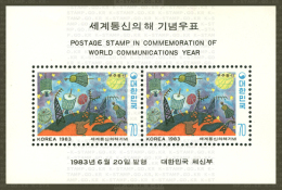 1983 South Korea Stamps S/s World Communication Year Kid Drawing Satellite Star Map Space UN - Space