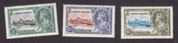 Cayman Islands, Scott #81-83, Mint Hinged, Silver Jubilee, Issued 1935 - Cayman Islands