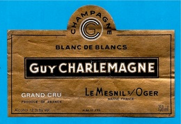 Etiquette De Vin De CHAMPAGNE Grand Cru - 51 LE MESNIL-sur-OGER Marne - Guy CHARLEMAGNE - Champagne