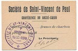 Société De Saint-Vincent De Paul - Conférence Du Sacré-Coeur - Bon Pour ____ Francs De Charbon - Non Classés