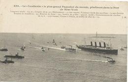 "Le  Paquebot  "" LUSITANIA ""   Dans  Le  Port  De  New-York - Piroscafi"