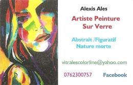 Carte De Visite - Alexis Ales - Artiste Peinture Sur Verre : Abstrait / Figuratif , Nature Morte - Cartoncini Da Visita