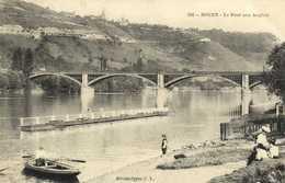 ROUEN  Le Pont Aux Anglais Barque Personnages RV - Rouen