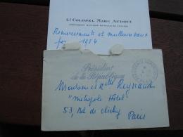 Lieutenant Colonel Marc Audoui Commandant Militaire Elysee Carte Visite Avec Envoi Lettre Presidence Republique - Cartoncini Da Visita