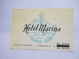 Carte De Visite HOTEL MARINA Barcelona Plazade Palacio 10 (années 1960) - Spain