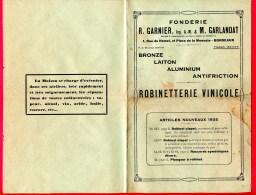 PUBLICITÉ (Réf C247) FONDERIE R. GARNIER M. GARLANDAT BORDEAUX ROBINETTERIE VINICOLE - Publicités
