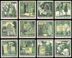 German Poster Stamp Complete Set 12 Poster Stamps Hansel And Gretel Brothers Grimm Fairy Tales Artist Heinrich Vogeler - Fairy Tales, Popular Stories & Legends