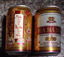 Vietnam Viet Nam 330ml Empty Beer Can : Hanoi New Year 2016 / Opened By 2 Holes At Bottom - Cans