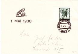 """Propaganda Karte, Tag Der Deutschen Arbeit ! 1. Mai 1938, Stempel """" Fahrbares Postamt Wien """" - Weltkrieg 1939-45"""