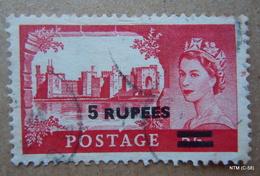 KUWAIT 1955. 5 Rs. On 5s, Queen Elesabeth II, Pictorial Castle. SG108. Scott 118, Used. - Kuwait