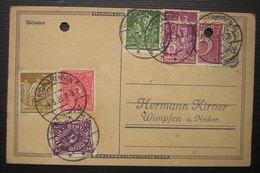 1923 Belle Oblitération Sur Une Carte De Sigmaringen (Gebhard) Pour Kirner à Wimpfen ( Deutsches Reich Allemagne) - Deutschland