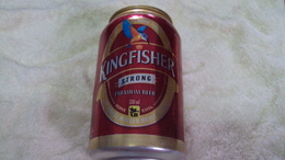 India Kingfisher Red 330ml Beer Can / Empty One / Opened By 2 Small Holes At Bottom / 03 Photo - Cans