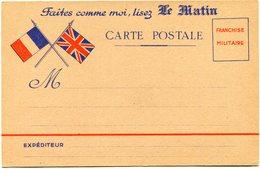 """FRANCE CARTE DE FRANCHISE MILITAIRE NEUVE AVEC PUBLICITE """"FAITES COMME MOI, LISEZ LE MATIN"""" + AU DOS """"MON FLACON....."""" - Marcophilie (Lettres)"""