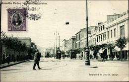 Cp Valparaíso Chile, Avenida Pedro Monti, Blick In Die Straße, Straßenbahnen - Chile