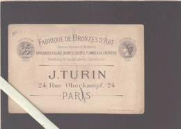 Paris - Fabrique De Bronze D'art - Photo Circa 1878  Pendule Cloche Byzantine - Rue Oberkampf - Cartoncini Da Visita