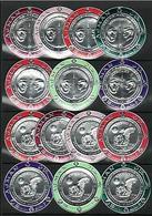 Ajman, 1969 Silver Foil Kennedy Churchill Space Apollo 11,Round Stamps 14v. - Unusual - Space