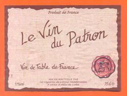 étiquette Vin De Table Rouge Le Vin Du Patron à Saint Felix De Lodez - 11°/° - 75 Cl - Red Wines