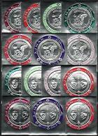 Ajman, Michel Cat. #474-487. John Kennedy & APOLLO 11 S/S, 14 Silver Foil Issues. Mint NH. Unusual - Space