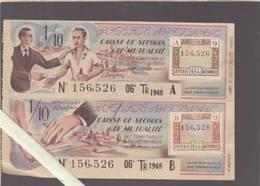 Loterie Nationane 1948 - Calendrier + Billets Caisse De Secours & De Mutualité - - Lottery Tickets
