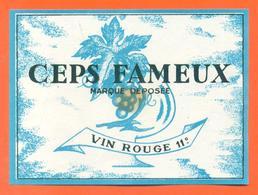 étiquette Ancienne Vin De Table Rouge Ceps Fameux - 11°/° - 75 Cl - Red Wines