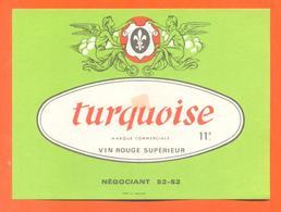 étiquette Ancienne Vin De Table Rouge Turquoise - 11°/° - 75 Cl - Anges - Red Wines