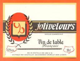 étiquette Ancienne Vin De Table Rouge Jolivelours Yves Bouteiller à La Baffe - 12°/° - 98 Cl - Red Wines