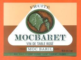 étiquette Ancienne Vin De Table Rosé Mocbaret Moc Baril à Saint Hilaire - 12°/° - 75 Cl - Pink Wines