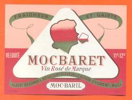 étiquette Ancienne Vin De Table Rosé Mocbaret Albert Desombes à Saint Hilaire - 11°/ 12°/° - 75 Cl - Pink Wines