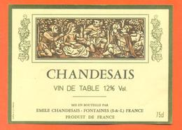 étiquette Vin De Table Rouge Chandesais à Fontaines -12°/° - 75 Cl - Red Wines