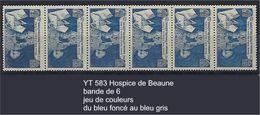 """FR Variétés YT 583 Bande De 6 """" Beaune """" 1943  Jeu De Couleurs - Abarten Und Kuriositäten"""