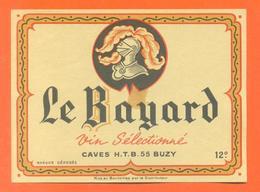 étiquette Ancienne Vin Sélectionné Le Bayard Caves HTB à Buzy -12°/° - 75 Cl - Red Wines