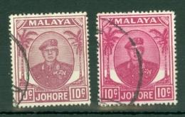 Malaya - Johore: 1949/55   Sultan Ibrahim    SG139    10c   [shades]   Used  X2 - Johore