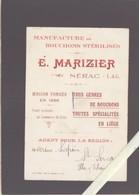 Manufacture De Bouchons - Marizier - Nérac - Verso Vierge - Cartoncini Da Visita