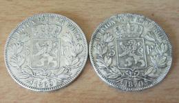 2 Monnaies 5 Francs Belgique Leopold II 1869 Et 1870 En Argent - TTB - 1865-1909: Leopold II