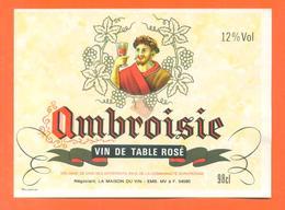 étiquette Vin De Table Rosé Ambroisie Maison Du Vin à 54580 -12°/° - 98 Cl - Pink Wines