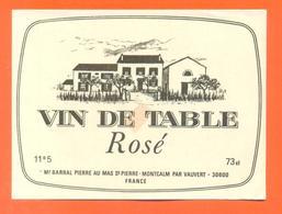 étiquette Ancienne Vin De Table Rosé Pierre Barral à Montcalm -11,5°/° - 73 Cl - Pink Wines