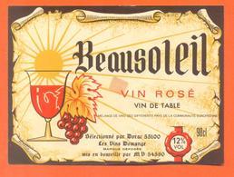 étiquette Ancienne Vin De Table Rosé Beausoleil Vins Domange à 54580 -12°/° - 98 Cl - Pink Wines